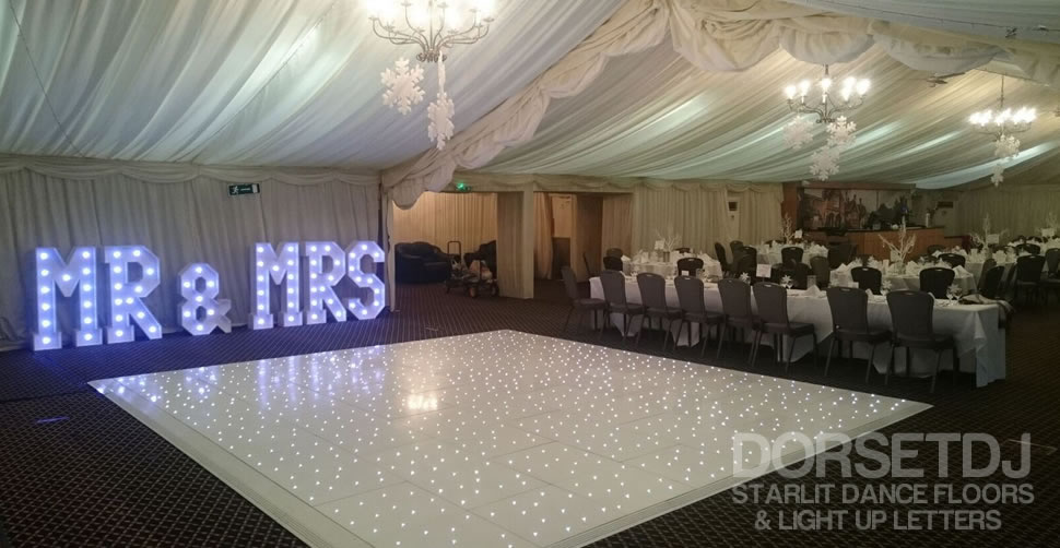 white starlit led dance floor at audley's wood